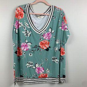 A.Gain Floral Short Sleeve T Shirt Stripe Trim 3XL